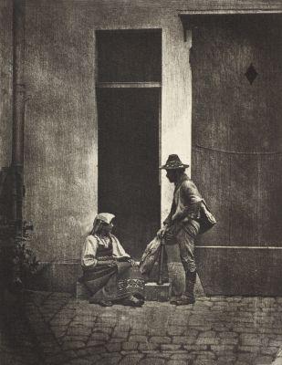Pifferaro debout et paysanne italienne assise, dans la cour du 21 Quai Bourbon