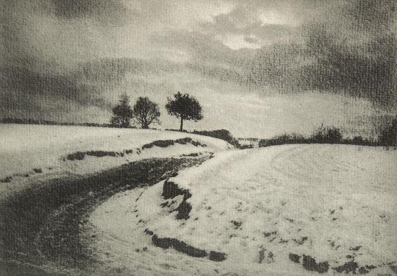 Une route de campagne en hiver