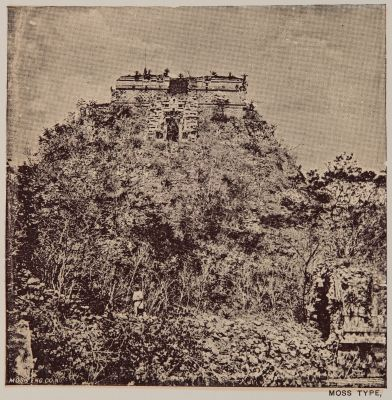 """View of the pyramid called """"House of the Dwarf"""" at Uxmal"""