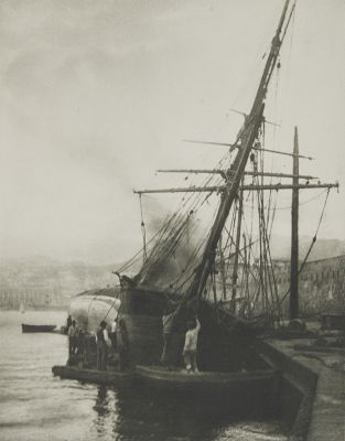 Calfatern Eines Schooners Im Hafen von Messina.