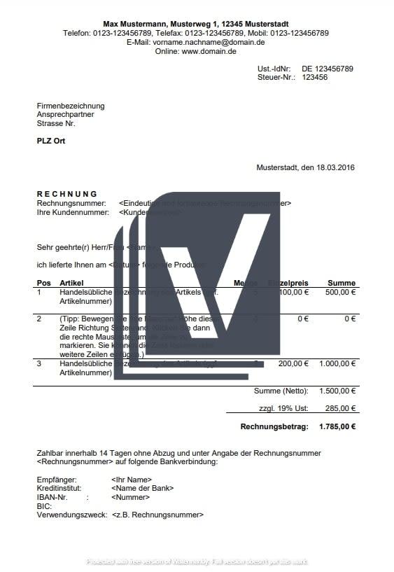 Rechnung für Produkte Muster
