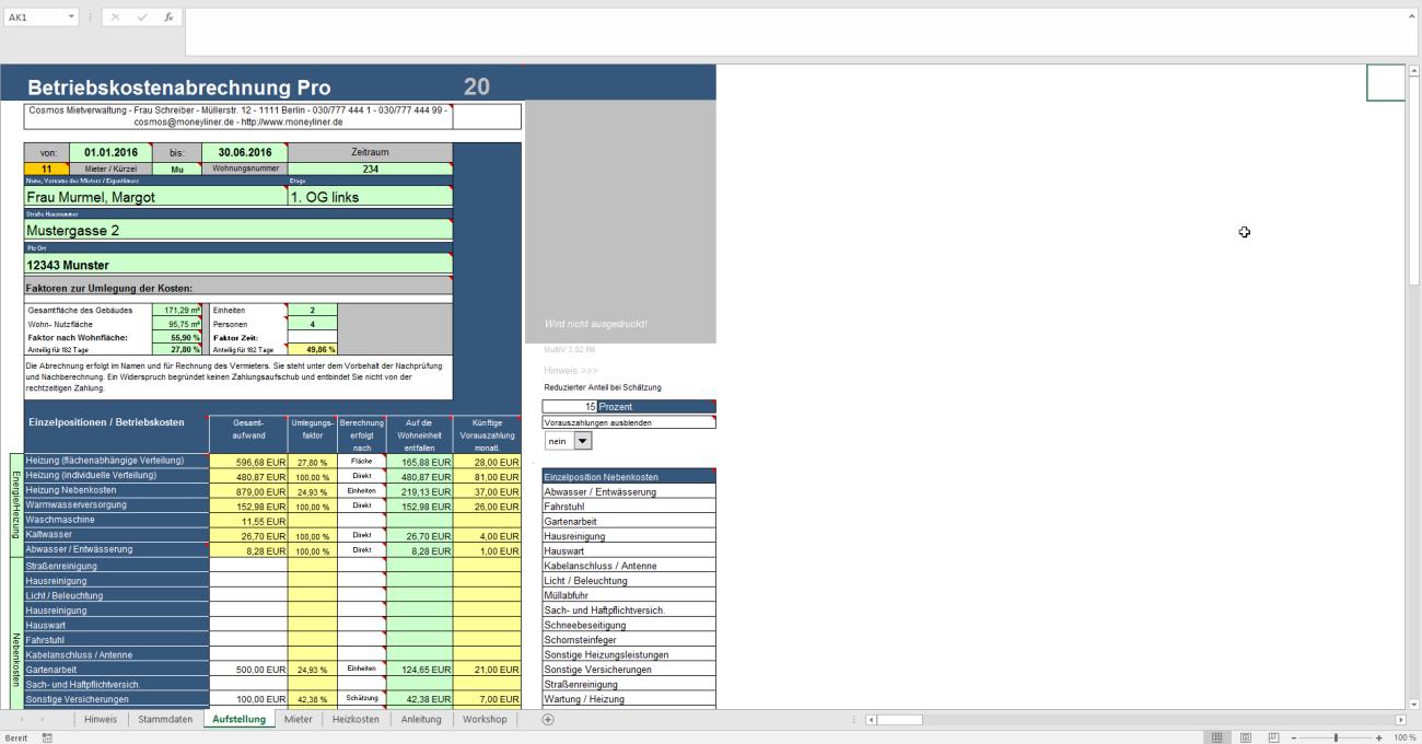 Nebenkostenabrechnung Pro in Excel