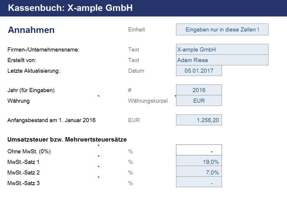 Vorschau zu dem Kassenbuch in Excel