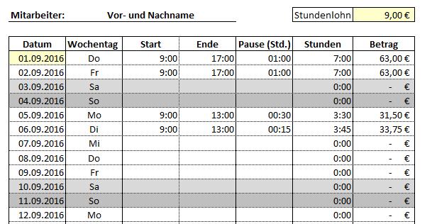 Auszug aus dem Excel-Tool