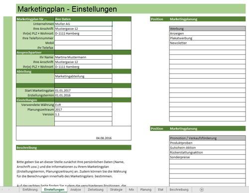 Darstellung einer Seite aus dem Excel-Tool