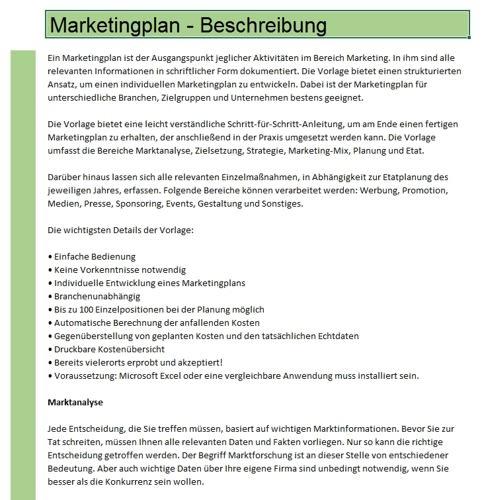 Hier erhalten Sie eine ausführliche Beschreibung des Marketingplans
