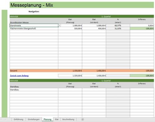 Auszug aus der Excel-Datei