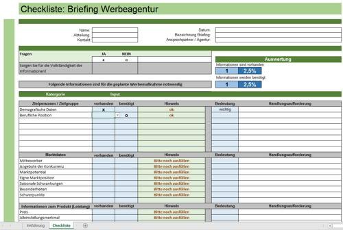 Auszug aus dem professionellen Excel-Tool