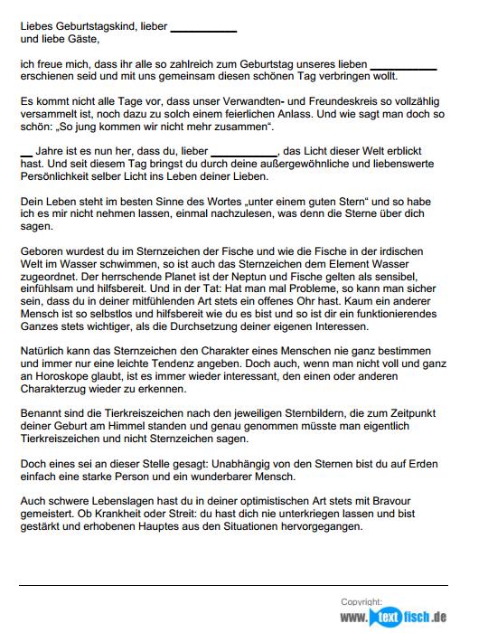Auszug aus der Muster-Geburtstagsrede - Sternzeichen Fische (männlich).