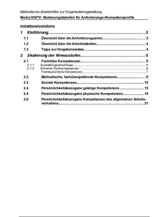 Inhaltsverzeichnis der Anleitung zu den Stellen-Kompetenzprofilen.