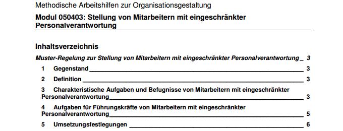 Inhaltsverzeichnis der Muster-Regelung zur Stellung von Mitarbeitern mit eingeschränkter Personalverantwortung.