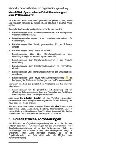 Seite 7 des Ratgebers zur systematischen Prioritätensetzung einer Präferenzmatrix.