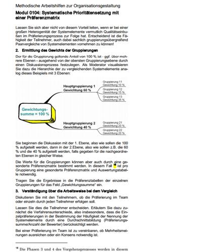 Seite 16 des Ratgebers zur systematischen Prioritätensetzung mit einer Präferenzmatrix.