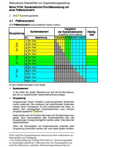 Seite 9 des Ratgebers zur systematischen Prioritätensetzung mit einer Präferenzmatrix.