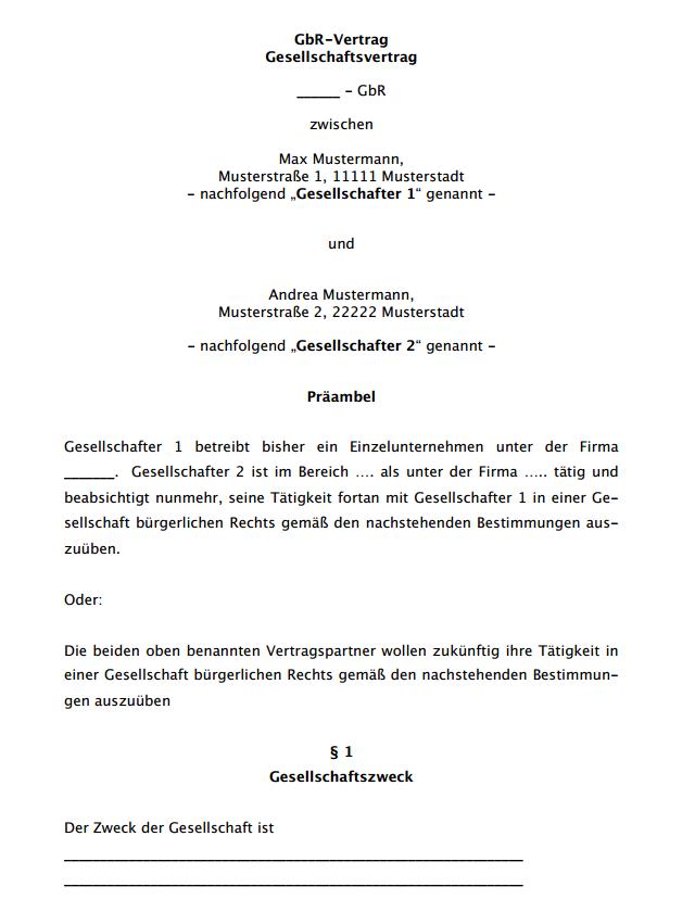 Erste Seite des ausführlichen Gesellschaftsvertrags für eine GbR.