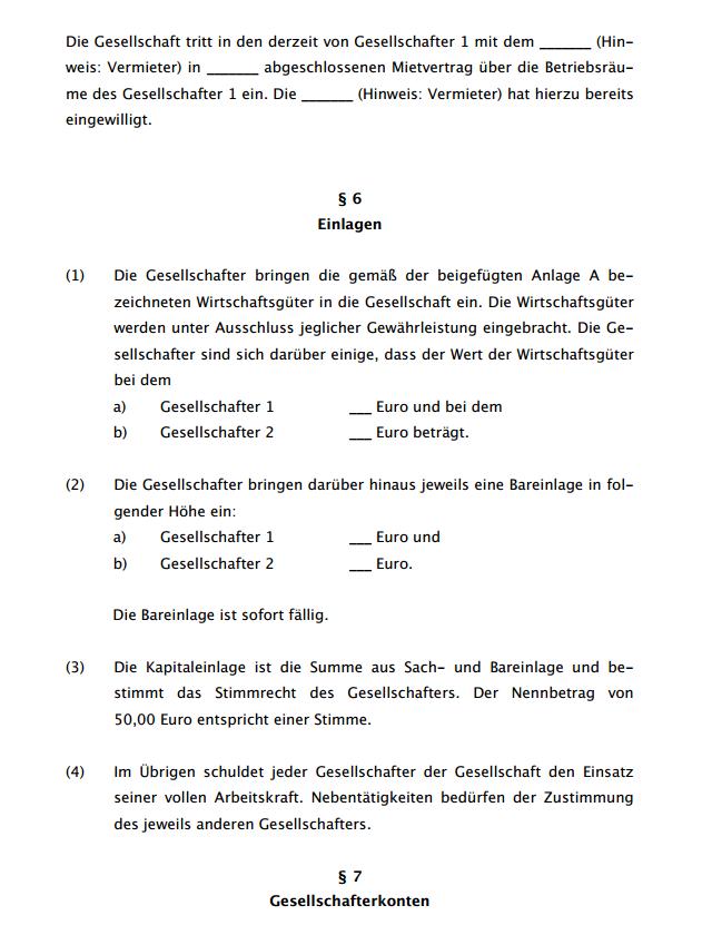 Dritte Seite des ausführlichen Gesellschaftsvertrags für eine GbR.