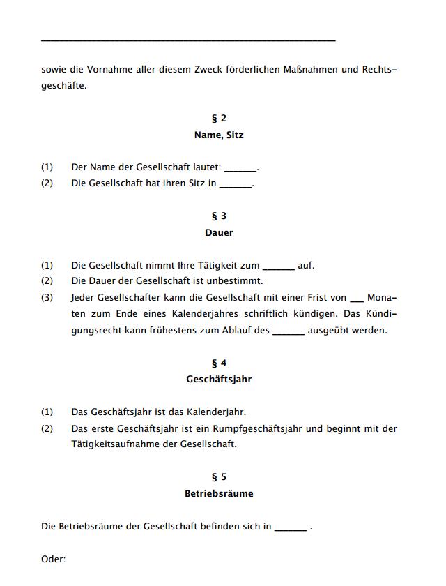 Zweite Seite des ausführlichen Gesellschaftsvertrags für eine GbR.