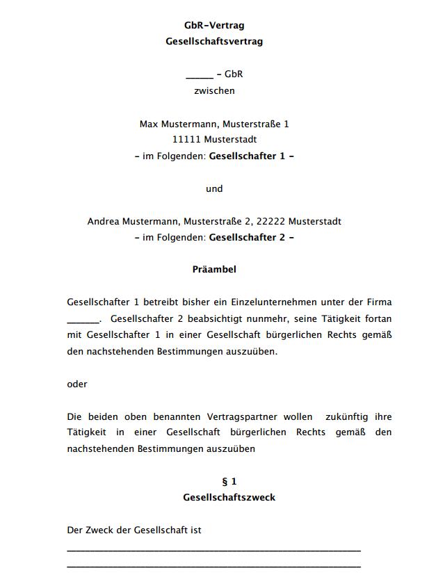 Auszug aus dem kurzen GbR-Vertrag.