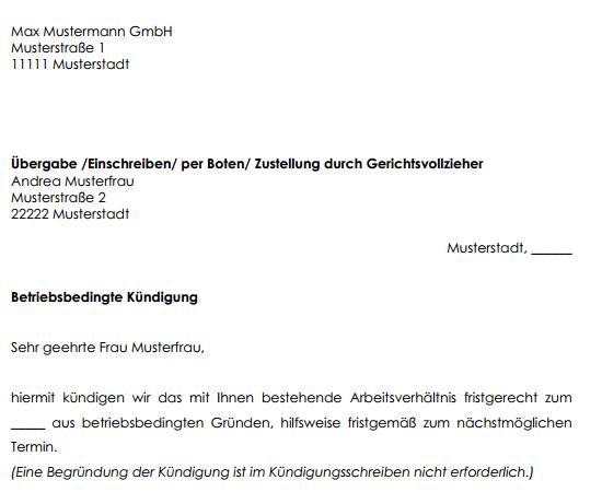 Auszug aus der betriebsbedingten Kündigung.