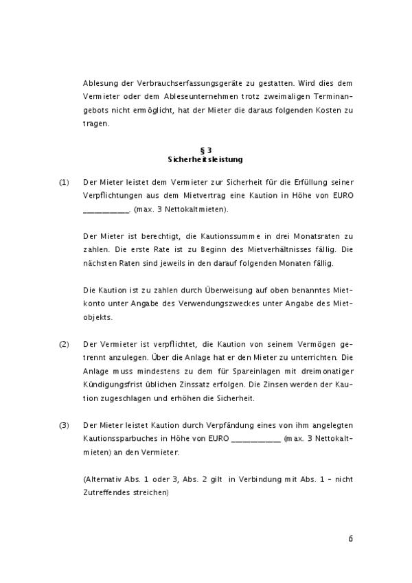 Ein weiterer Auszug zeigt Paragraphen 3 des Mietvertrages.