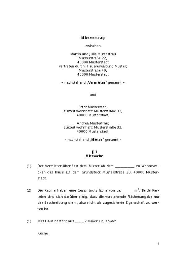 Sie sehen hier Seite 1 des Mietvertrags für ein Einfamilienhaus mit §1 Mietsache