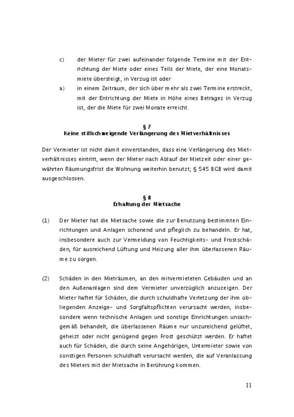 Der Mietvertrag wurde von Rechtsanwälten aufgesetzt. Hier sehen Sie zwei weitere Paragraphen.