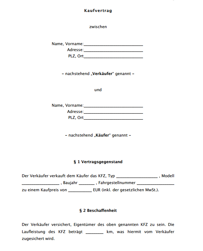 Auszug aus dem Muster eines KFZ Kaufvertrags aus Käufersicht.
