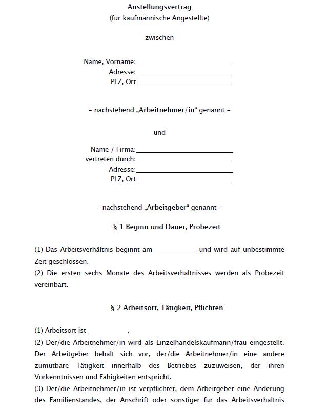 Auszug aus dem Muster eines Arbeitsvertrags für eine/n kaufmänn. Angestellte/n.