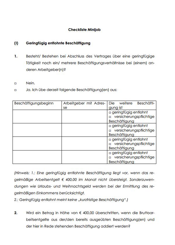 Auszug aus der Checkliste für Minijobs.