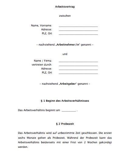 Der in der Praxis mehrfach erprobte Arbeitsvertrag wird auch als einfacher Arbeitsvertrag bezeichnet.