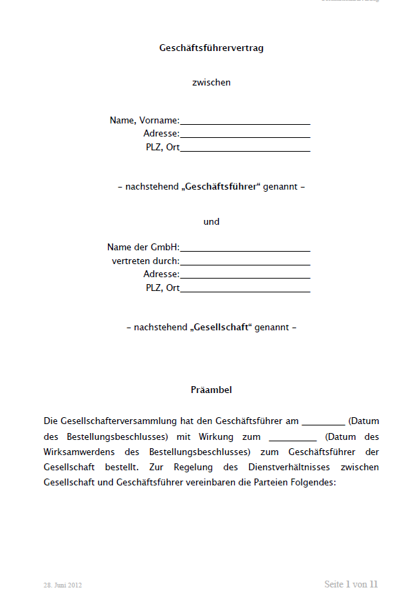 Auszug aus dem Mustergeschäftsführervertrag GmbH. Seite 1