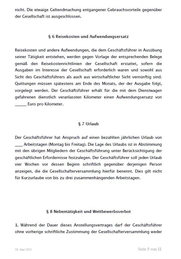 Auszug aus dem Mustergeschäftsführervertrag GmbH. Seite 5