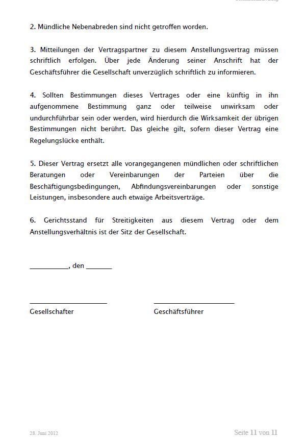 Auszug aus dem Mustergeschäftsführervertrag GmbH. Seite 11