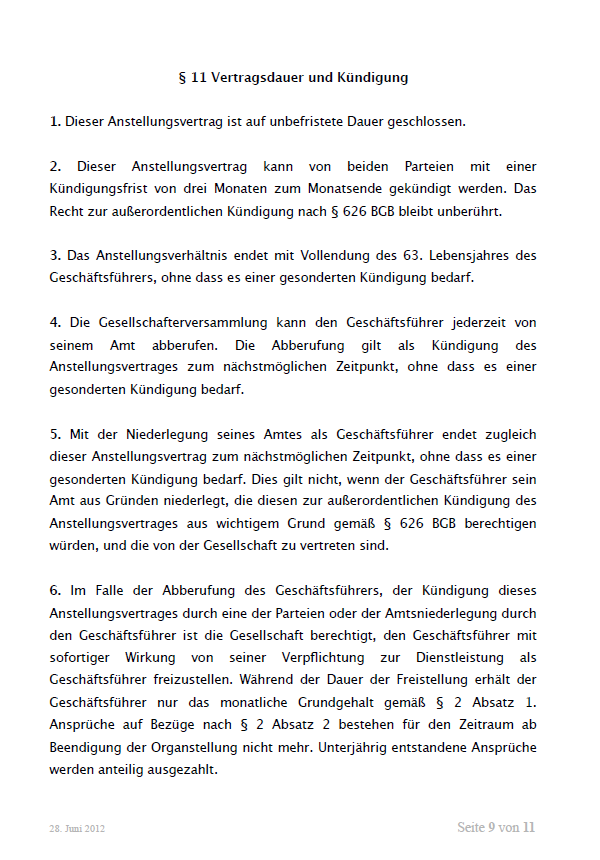 Auszug aus dem Mustergeschäftsführervertrag GmbH. Seite 9