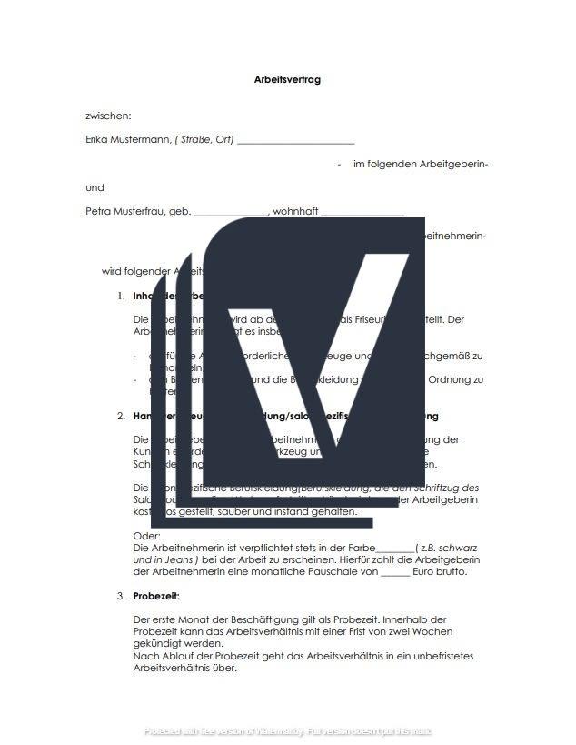 Mit diesem Arbeitsvertrag stellen Sie eine Friseurin oder einen Friseur ein. Der Mustervertrag wurde von Juristen erstellt und kann umgehend von Ihnen verwendet werden.