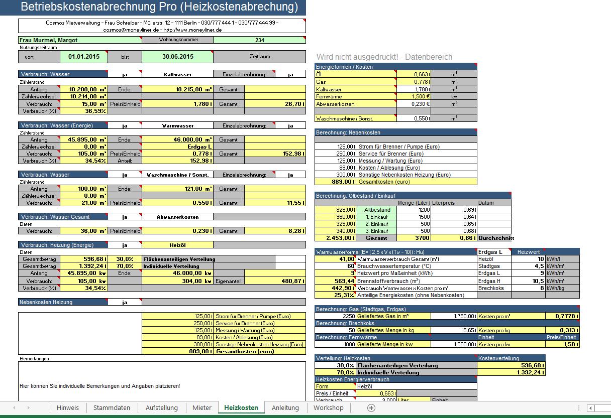 Auszug aus einem weiteren Excel-Tool, das Sie in diesem Paket erhalten