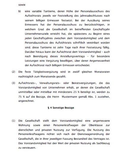 Inhalte des Vertrages sind unter anderem die Vertragsdauer, Urlaubsregelungen, Tätigkeitsvergütungen u.a.