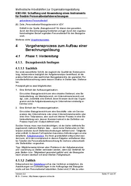 Auszug: Vorgehensprozess zum Aufbau einer Berechnungslösung