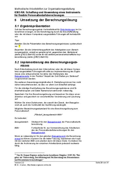 Auszug: Umsetzung der Berechnungslösung