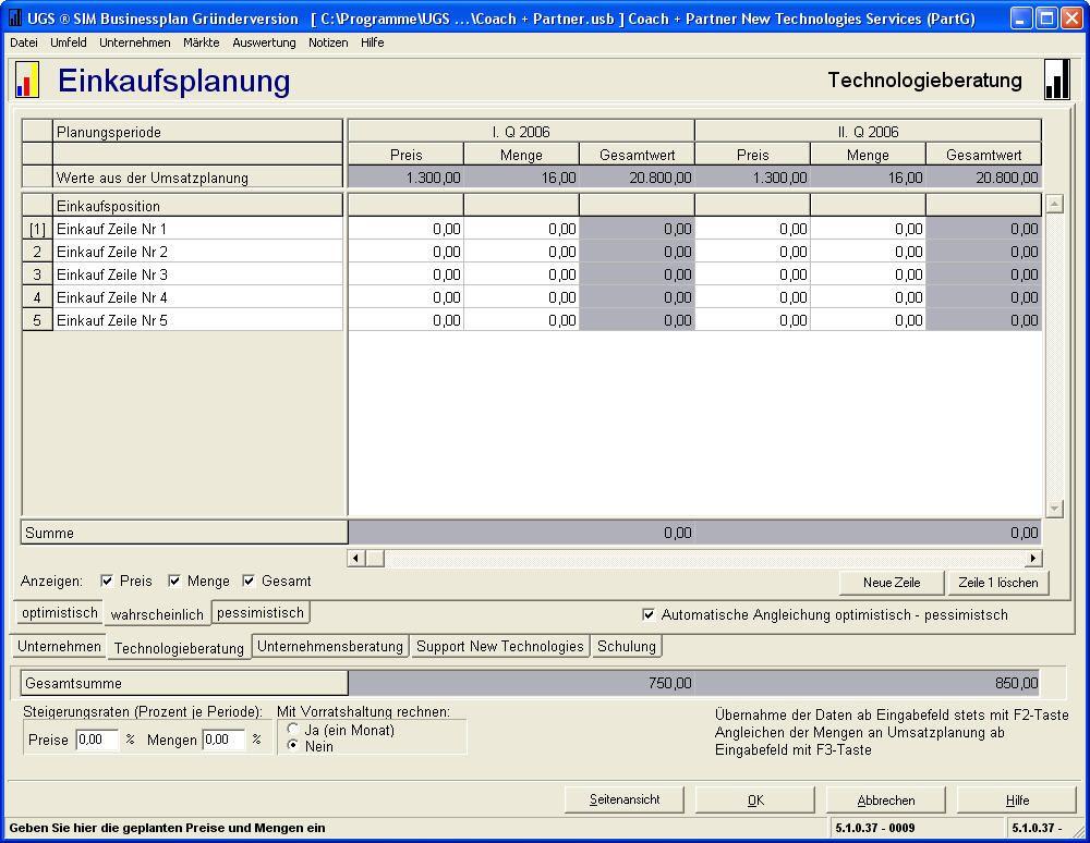Auch beim Einkauf hilft Ihnen die Businessplan-Software weiter.