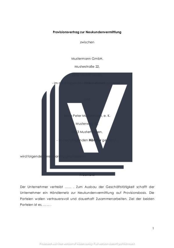 Decklblatt für Provisionsvertrag Kundenvermittlung