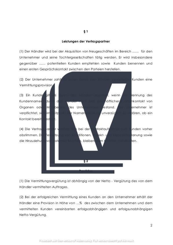 Provisionsvertrag Paragraphen und Leistungen