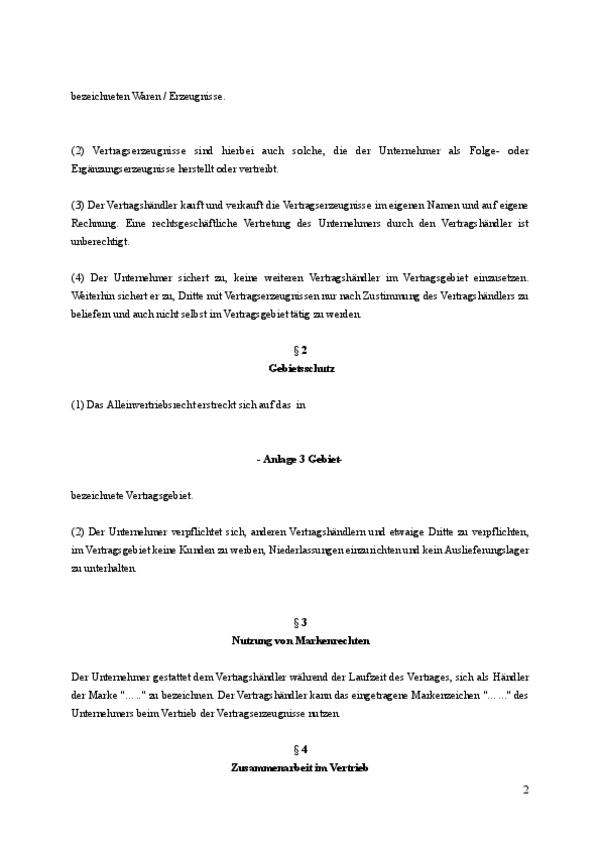 Auszug aus dem Alleinvertriebsvertrag. Seite 2
