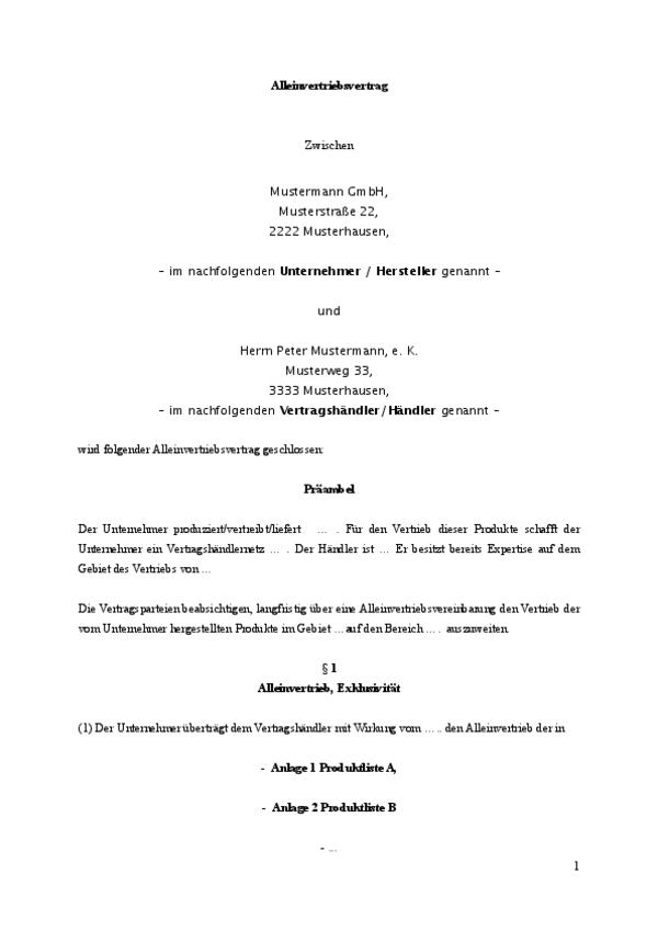Auszug aus dem Alleinvertriebsvertrag. Seite 1