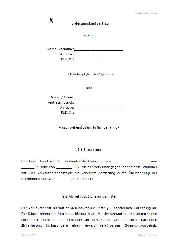 Forderungskaufvertrag Vorlage