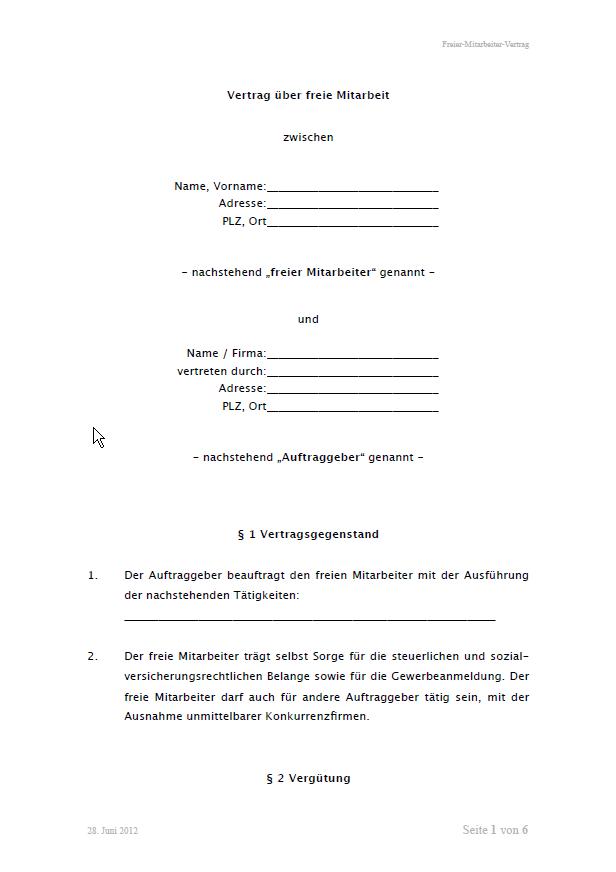 Freier Mitarbeiter Vertragsvorlage