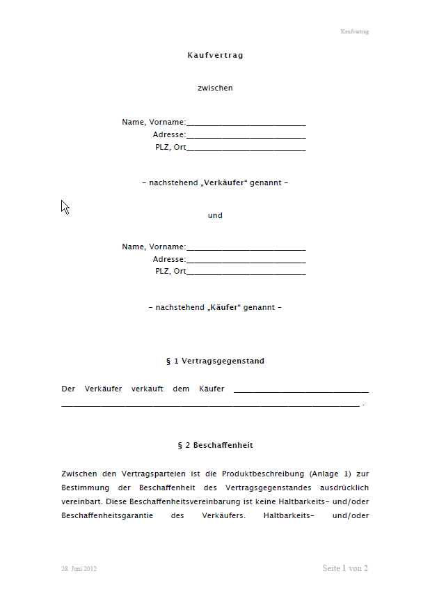 Kaufvertrag allgemeine Vorlage