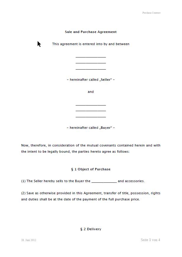 Muster Kaufvertrag Englisch
