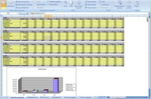 Die Auswertung der Umsatzentwicklung, der Ertrags- und Renditekennziffern, des Kapitalbedarfs und weiterer Daten erfolgt automatisch.