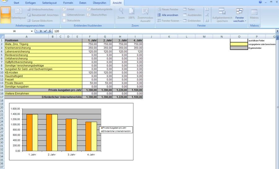 Erfassen Sie alle Daten, die Ihnen zu Beginn Ihres Vorhabens zur Verfügung stehen wie zum Beispiel Sach- und Finanzanlagen, Umlaufvermögen und Eigenkapital.